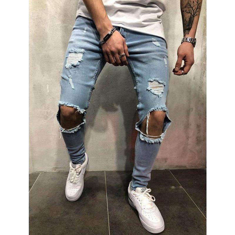 Мужские джинсы в стиле хип хоп повседневные облегающие рок 2018|Мужские джинсы| |