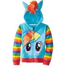Spring Girls Coats Little Pony Jacket For Girls Cartoon Casual Full Sleeve Hooded Girls Outerwer Baby Kids Jacker Girls Clothing