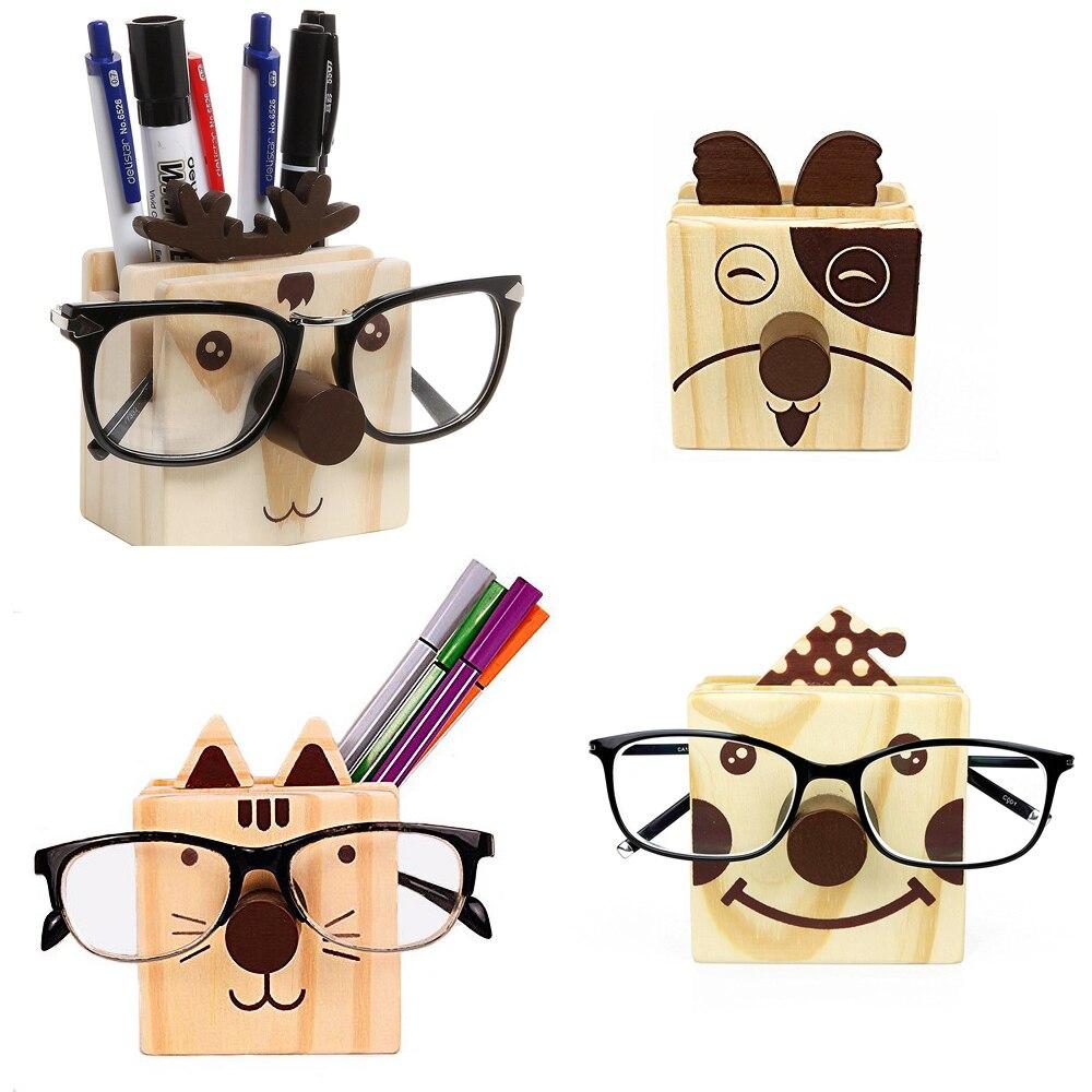 XRHYY diseño humorístico de madera multifunción novedad gafas de ojo lápiz taza soporte de madera para bolígrafo organizador de escritorio/soporte para teléfono móvil
