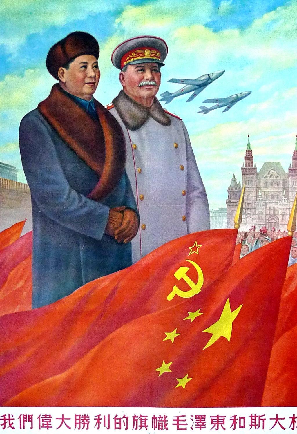Постер Мао цзедонг и Сталин, винтажный постер в стиле ретро, Картина на холсте, настенная бумага для самостоятельного изготовления, украшен...