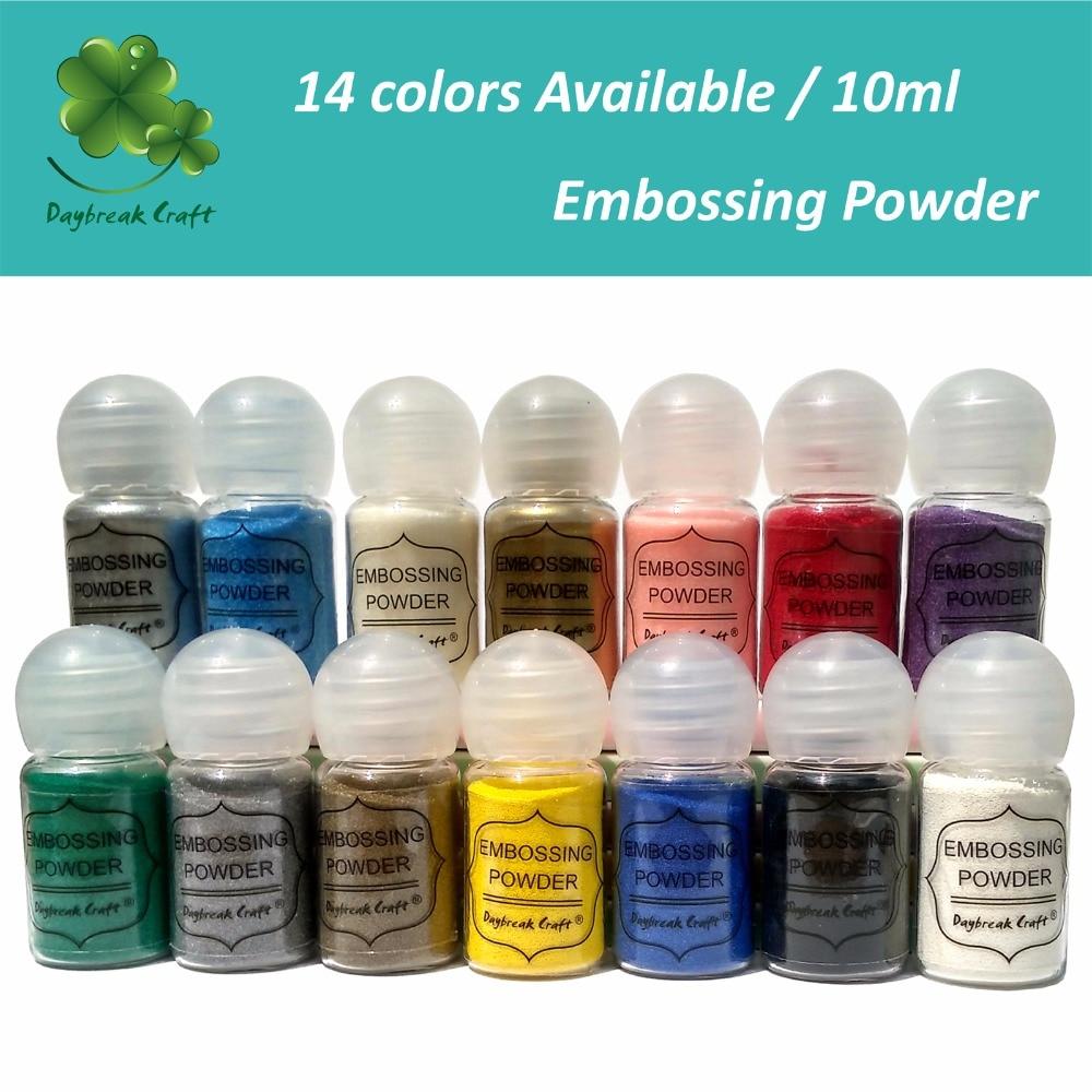 10ml DIY Metallic Paint Emboss Powder Shiny Colour Embossing Pigment Stamping Scrapbooking Craft