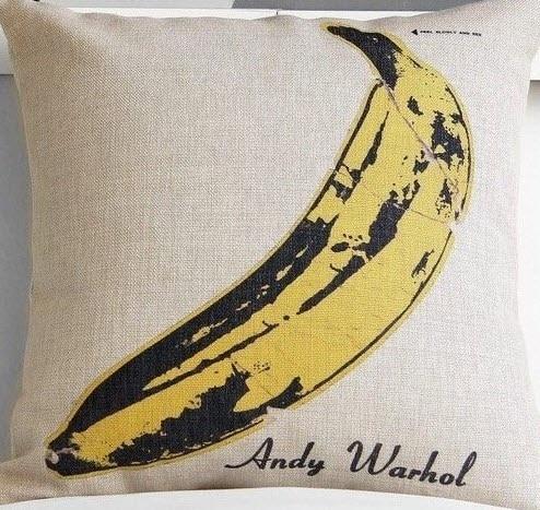 Banana ever Andy Warhol Art funda decorativa para almohada Vintage masaje coche fibra Zip DIY Lino decoración del hogar 18x18