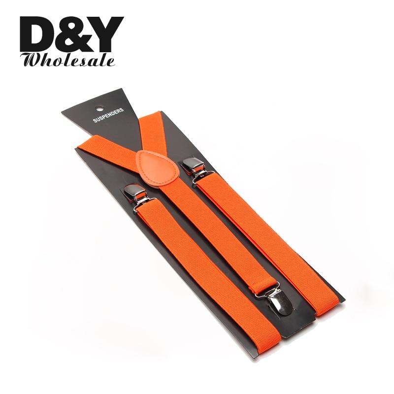 "High Quality 2.5cm wide ""Orange"" Unisex Clip-on Braces Elastic Slim Suspender Y-Shape Suspenders Braces Wholesale & Retail"