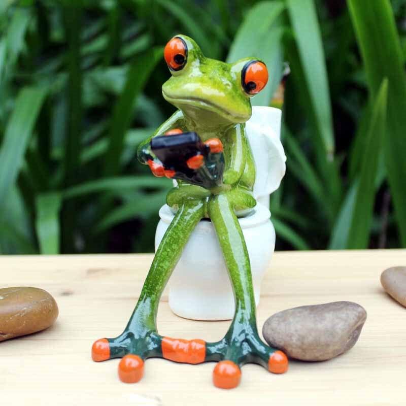 3d скульптура лягушки куклы фигурки kawaii поделки сидя туалетные украшения для домашнего декора полимерные фигурки лягушек аксессуары для дома
