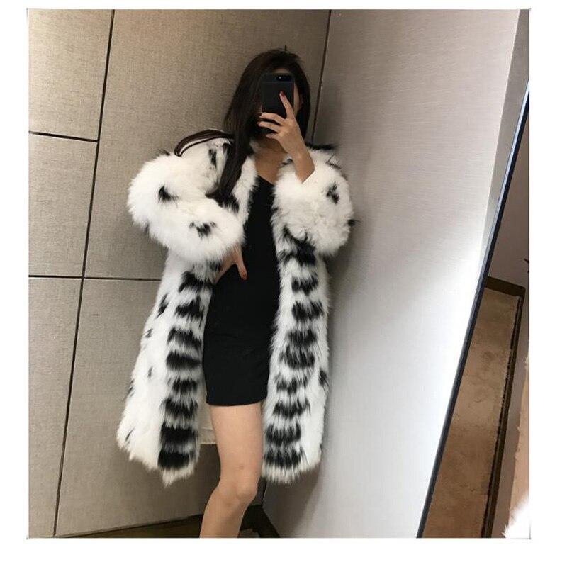 Abrigo de piel de zorro CHEWIES Natural x-longer, abrigo de manga larga, chaqueta de punto de talla grande, cuello en V, prendas de vestir de invierno, Outlet de fábrica 7,14