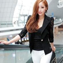 Elegant Women Long Sleeve Coat Lace Open Front Blazer Short Casual Jacket Blouse Slim Coat