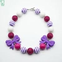 5pcs kids chunky bow necklace girls bubblegum beads choker collar new princess fashion jewelry children chunky bow necklace