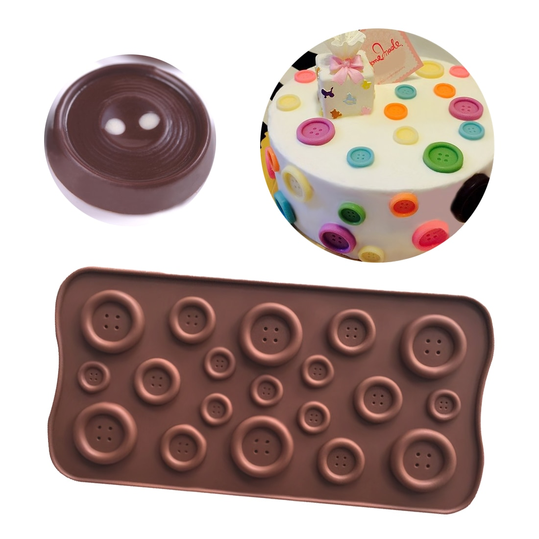 Molde de silicona con forma de botón bonito molde de jabón de jalea Chocolate DIY herramientas de decoración de pasteles horneados accesorios de cocina recipientes para hornear