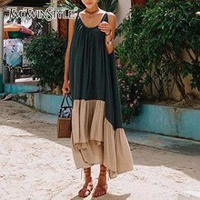 GALCAUR 스파게티 스트랩 드레스 여성 Backless 패치 워크 비대칭 롱 비치 드레스 2020 여름 패션 섹시한 의류