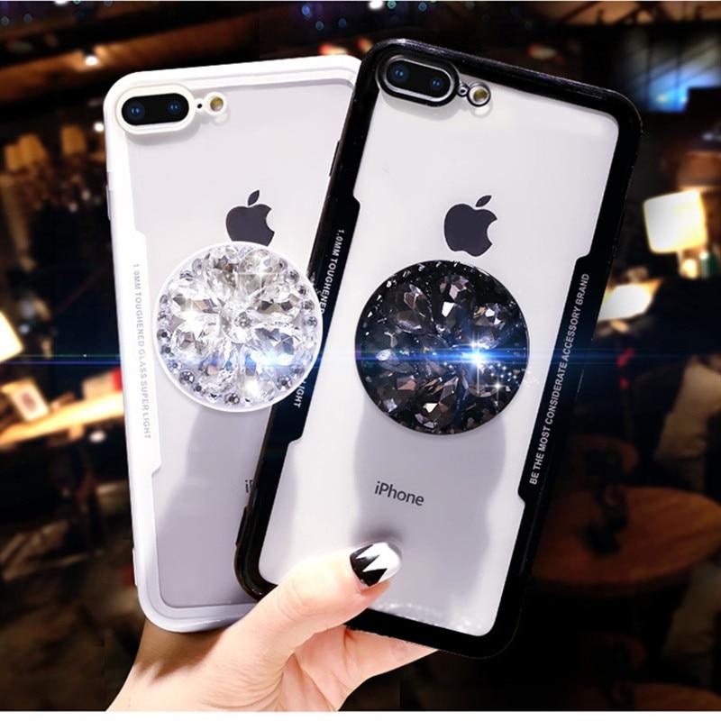 Bonito 3d diamante broca flor kickstand glitter caso para iphone 11 pro xs max xr x 8 7 6plus capa para xiaomi redmi note5 poco f1