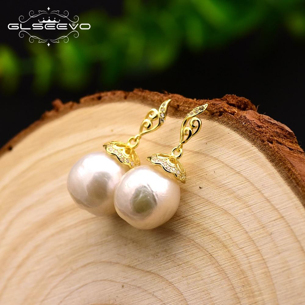 GLSEEVO 925 Sterling Silver Natural Baroque Round Big Pearl Drop  Earrings For Women Gift Earrings Luxury Fine Jewelry GE0630