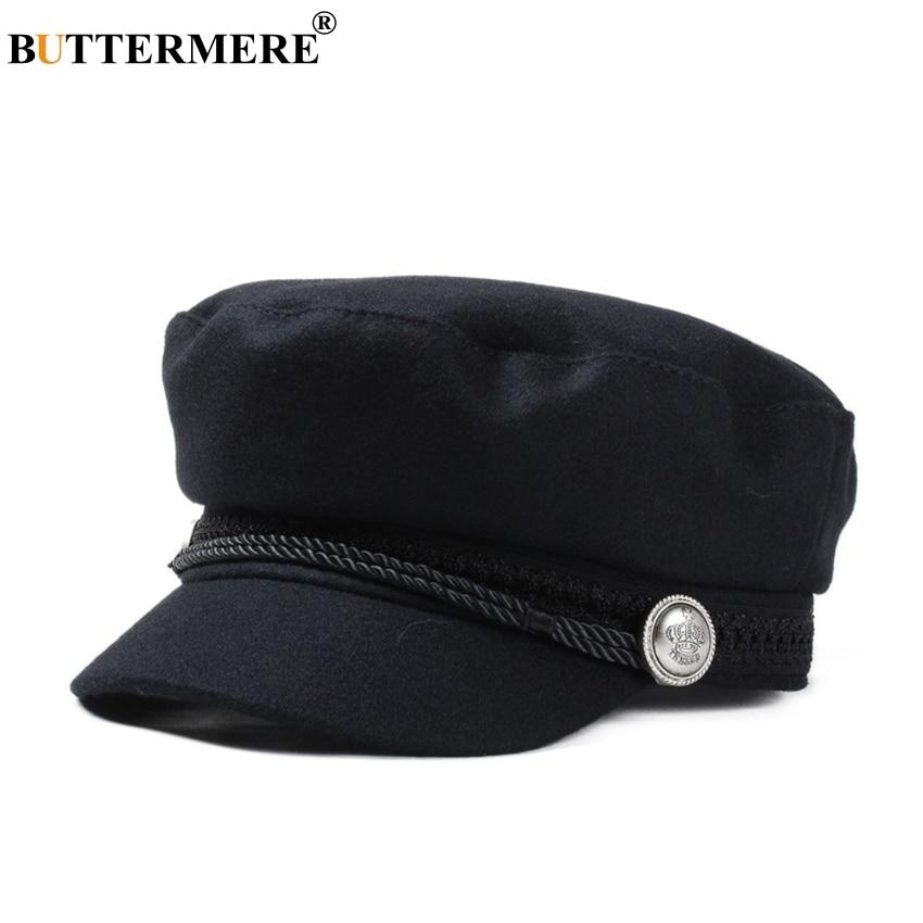BUTTERMERE gorra Gatsby mujer negro lana Baker Boy Cap plano mujeres elegantes señoras francés pintor Cap primavera Classic Newsboy gorras