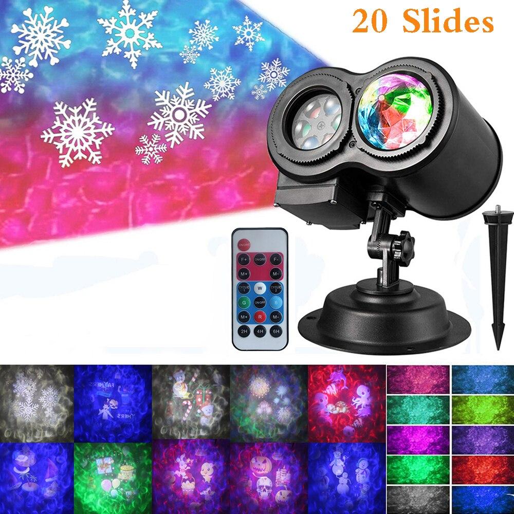 2 в 1 океанская волна воды рождественские прожекторы с 20 рисунками слайдов водонепроницаемые наружные светодиодные Ландшафтные ночные свет...