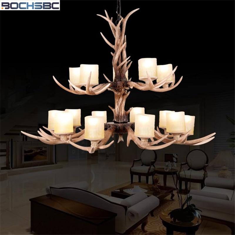 BOCHSBC 15 cabezales candelabros de resina de dos capas de Navidad lámpara colgante con pantalla de cristal para sala de estar dormitorio
