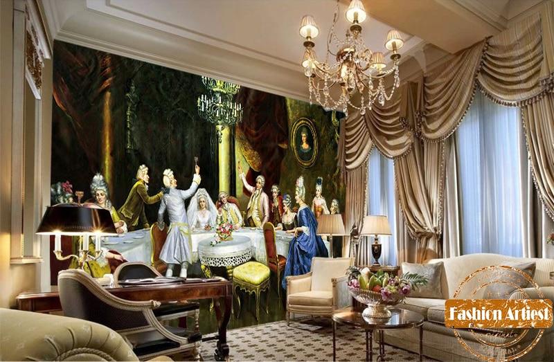 Custom vintage papel pintado con motivo de pintura al óleo mural Europa medieval de la corte real reunión sofá dormitorio sala de café de fondo de la barra