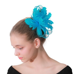 Turquoise Sinamay Classic Women Headwear For Wedding Party Fascinator Hair Pin Bride Wedding Headdress Floral Hair Accessories