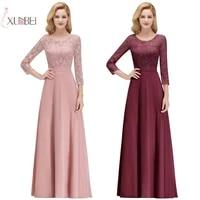 chiffon long bridesmaid dresses 34 sleeve applique wedding party guest gown robe demoiselle dhonneur