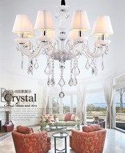 8 luces de vela led candelabros de cristal blanco con pantalla de tela brazos de vidrio de dormitorio lámparas de araña blancas luces colgantes