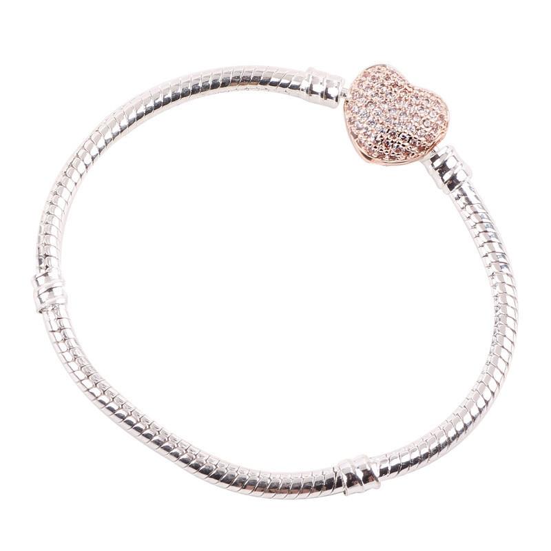 Couqcy высокое качество аутентичная Серебряная цветная змеиная цепь, очаровательный браслет, Подходит для европейских шармов, браслет для женщин, сделай сам, ювелирное изделие