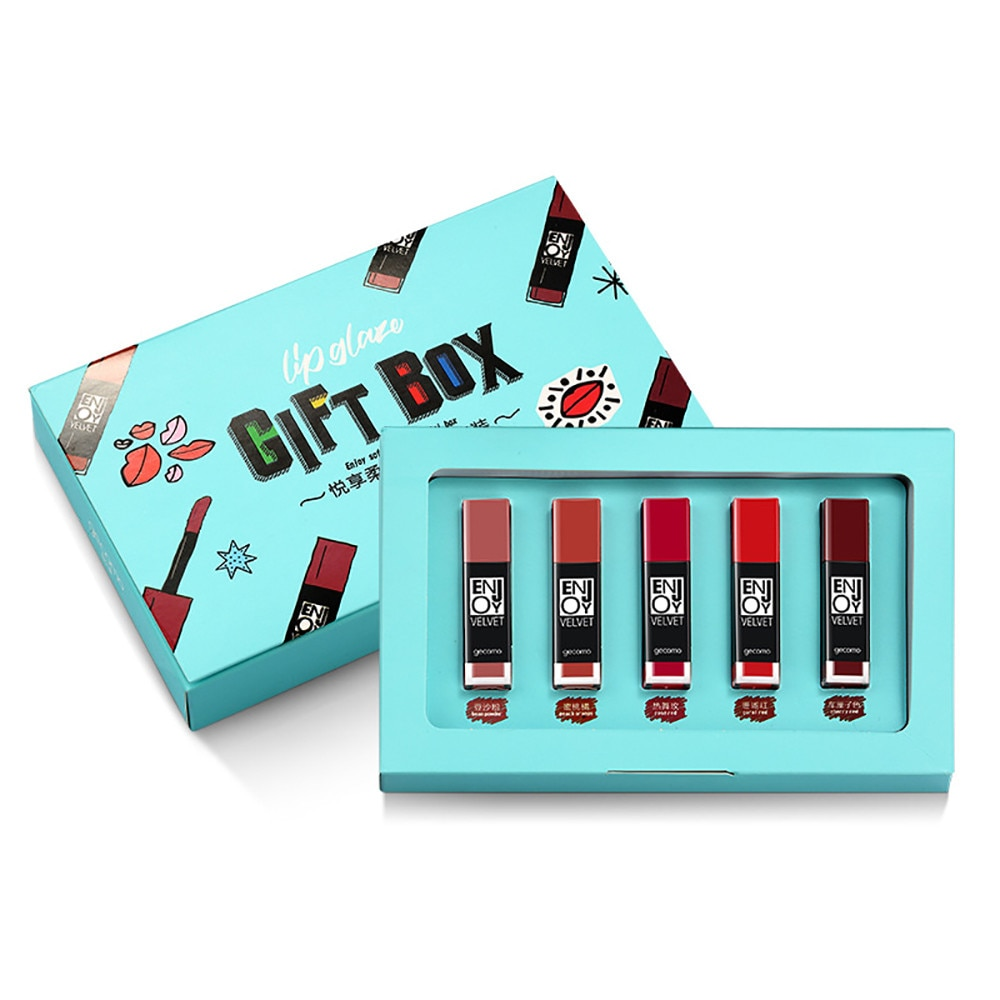 5 stücke Lip Gloss Make-Up Set Lip Öl Lang Anhaltende DIY Wasserdichte Weiche Textur Matt Flüssigen Lippenstift Kosmetik Kit