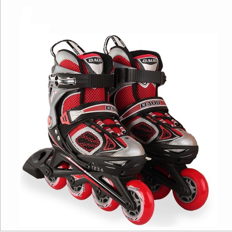 1 par profissional crianças ou adulto de alta qualidade inline sapatos skate freestyle patinação botas ao ar livre patins rosa/preto