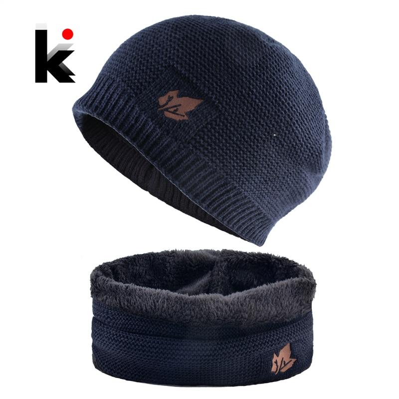 Los hombres de invierno Juegos de gorro y bufanda de moda de hoja de arce de tejidos hombre gruesa añadir punto de terciopelo sombrero tapa pañuelos para niños conjunto