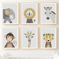 giraffe zebra lion elephant monkey nordic posters and prints wall art canvas painting animals art prints wall pictures