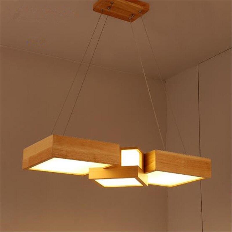 مصباح معلق LED خشبي على الطريقة اليابانية ، مصباح حديث وبسيط ، شكل مستطيل ، مثالي لغرفة المعيشة أو غرفة الطعام ، شحن مجاني