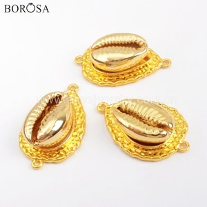 BOROSA 10PCS Full Gold Electroplated Natural Cowrie Shell Connector Double Charms for Necklace/Bracelet Jewelry DIY G1735