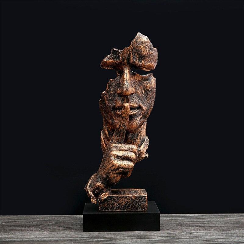 Estatua Retro de resina pensador artesanía arte de sala de estar decoración silencio es pensador de oro escultura decoración del hogar Accesorios regalos