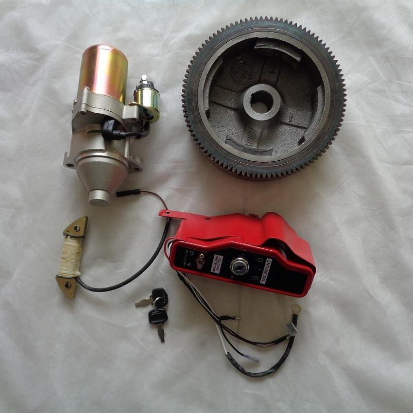Kit de partida elétrico reequipamento para gx340 gx390 gx420 177f 188f engnine gerador 4 pces (interruptor do volante do motor de partida bobina de carregamento)