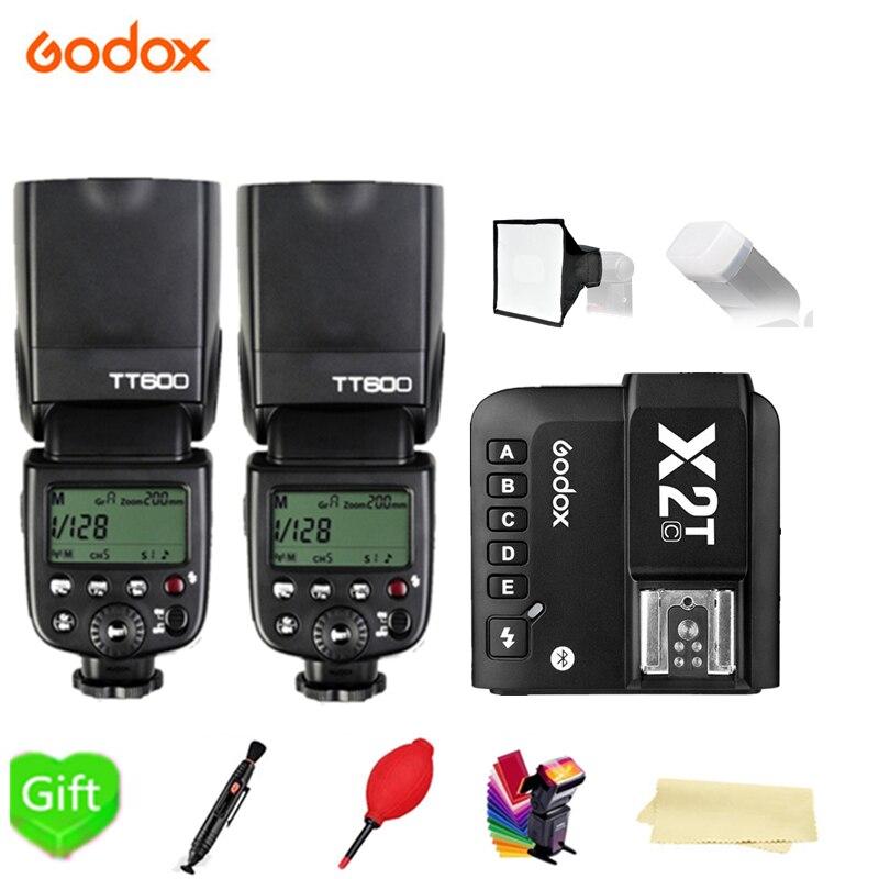 2X Godox TT600 TT600S 2,4G inalámbrico 1/8000s Flash Speedlite + X2T-C/N/S/F/O/P disparador para Canon Nikon sony fuji olympus