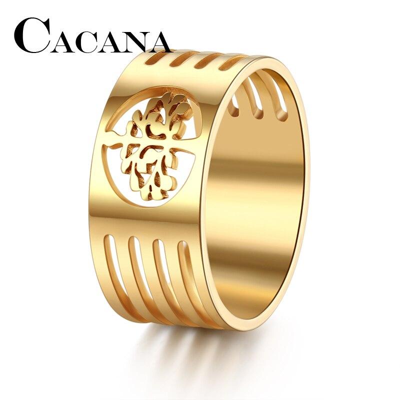 CACANA HIP Punk oro plata Color 316L Acero inoxidable Wisdom árbol anillos para hombres joyería tamaño completo 7-11