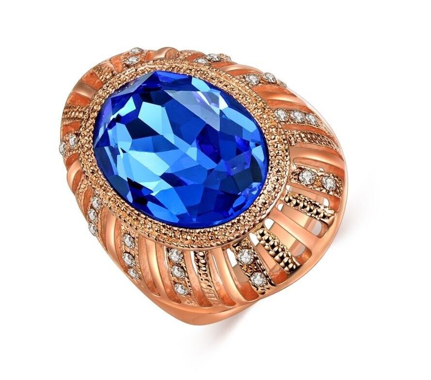 Rosa banhado a ouro cz anel de pedra de diamante para mulher bela brilhante jóias grande rosa opala anel