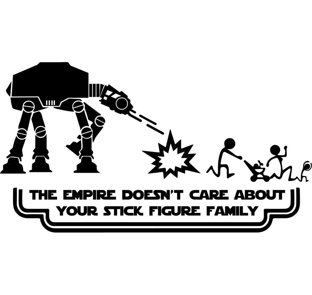 20cm wide Family The Empire Doesn't Care About Your Family Text Vinyl Funny Car Stickers Creative Ca