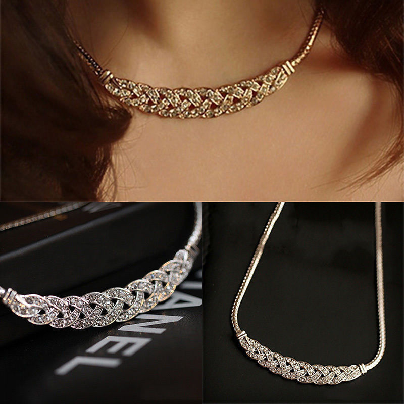 Ausverkauf Fshion Frauen Schmuck Kristall Kette Chunky Erklärung Lätzchen Anhänger Kette Halskette