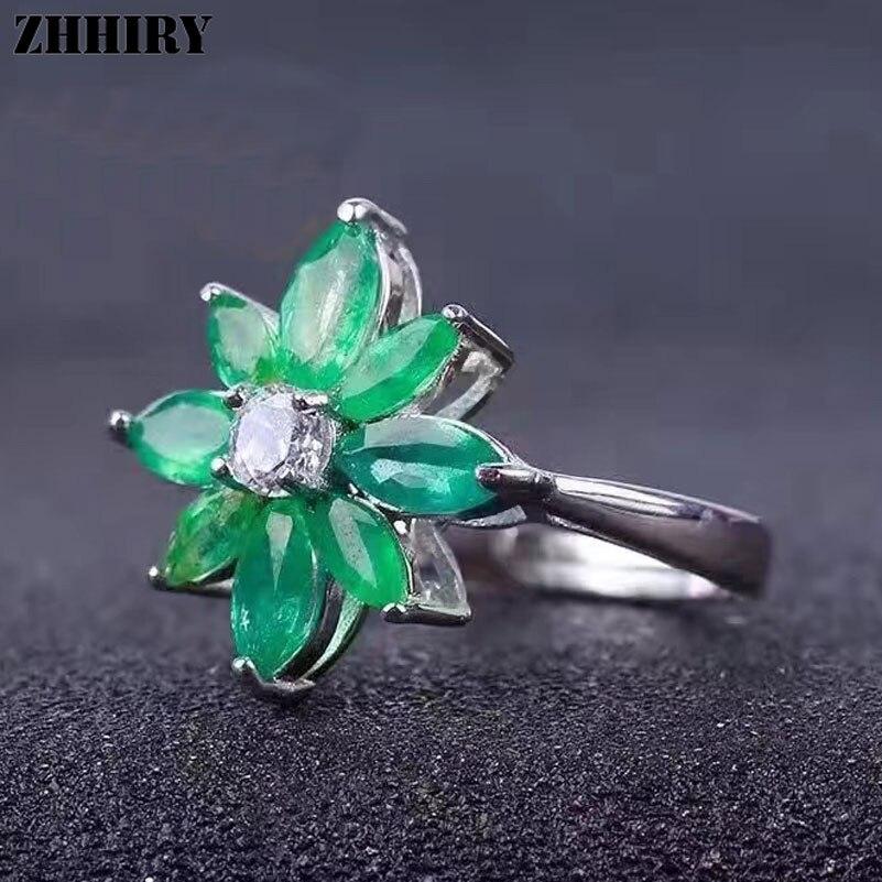 Anillo de Esmeralda Real ZHHIRY, anillo de Plata de Ley 925 con gema Natural, anillos de flores para boda para mujer, joyería delicada auténtica