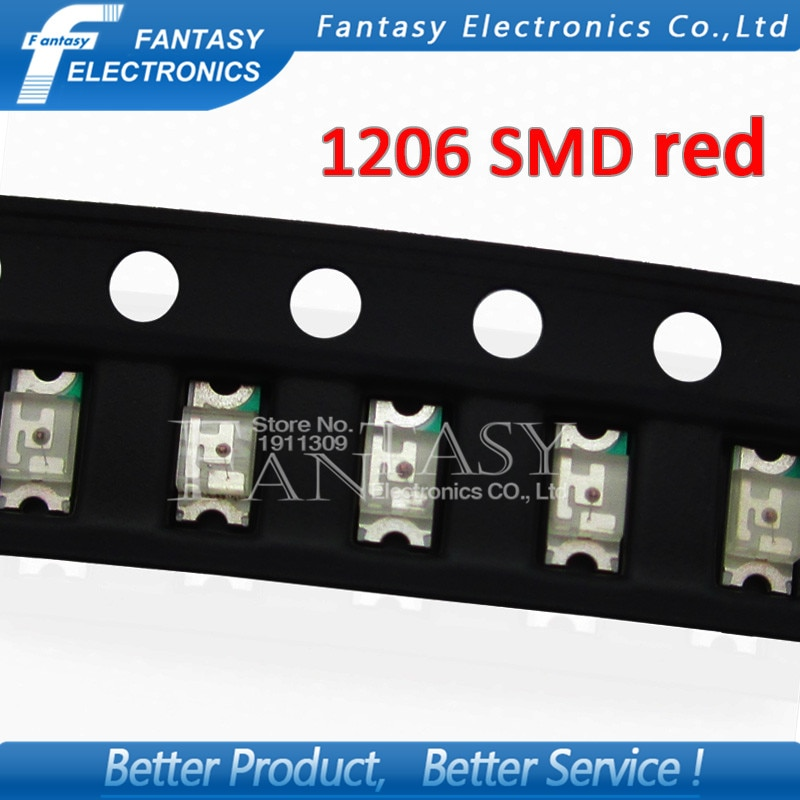 100 Uds. Rojo 1206 SMD LED diodos luz 3216