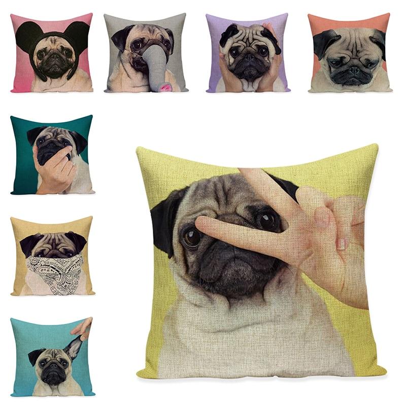 Cartoon Dog Cushion Cover Linen Decorative Pillow Case Sofa Throw Pillowcase Car Seat Accessories Home Textile Decor 45x45cm 45x45cm home fashion linen sofa cushion cover fabric pillow case solid color cushion decorative