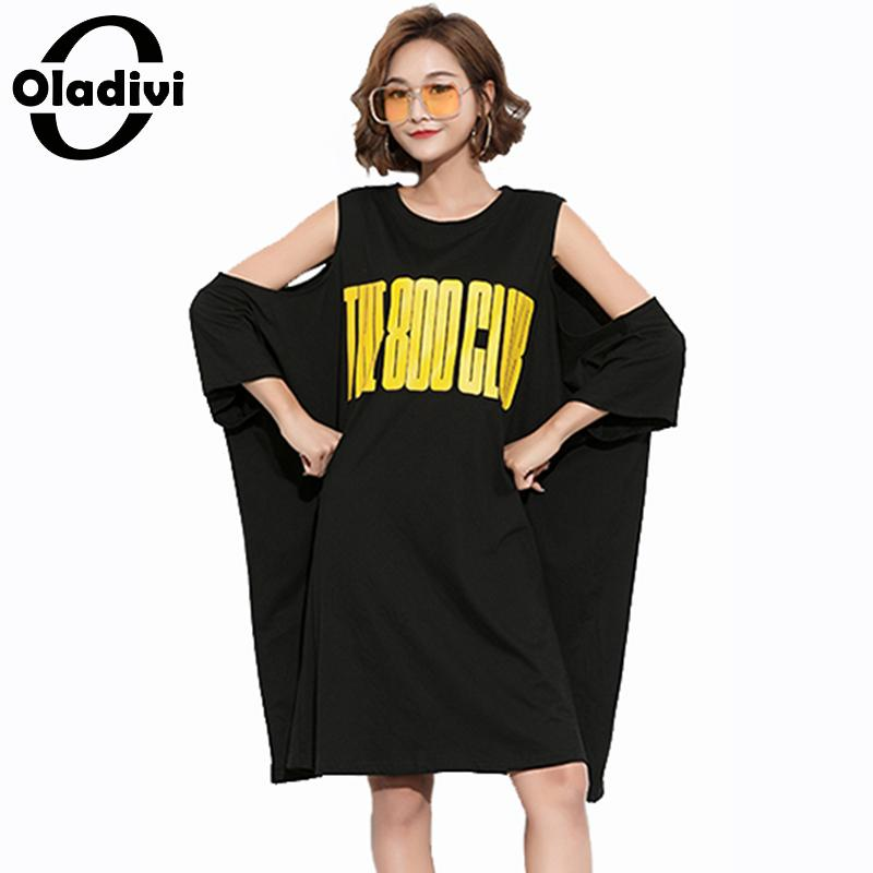 Oladivi oversized plus size feminino casual solto fora do ombro midi vestido tamanhos grandes carta impressão vestidios femininos 10xl 8xl
