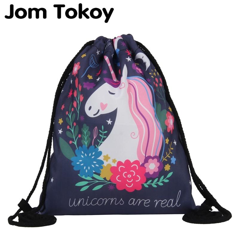 Jom Tokoy de moda bolsa de 3D impresión unicornio Mochila femenina Mochila de las mujeres diario Casual chica Mochila