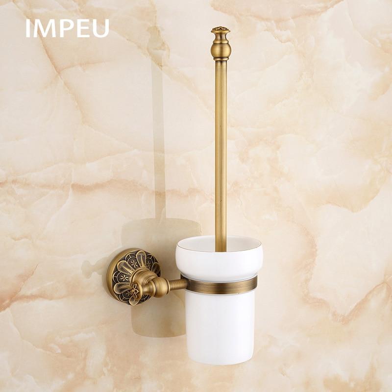 حامل فرشاة مرحاض نحاسي عتيق الطراز ، ملحقات الحمام ، لمسة نهائية برونزية عتيقة ، هيكل فندق أوروبي