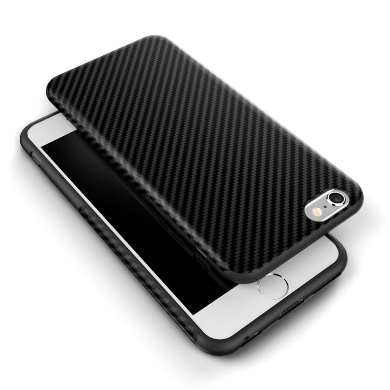 Najnowszy środowiska carbon fiber case dla iphone 6 6s plus miękkie antypoślizgowa anti-puk pokrywy dla iphone 7/plus skóra skóra torba 5