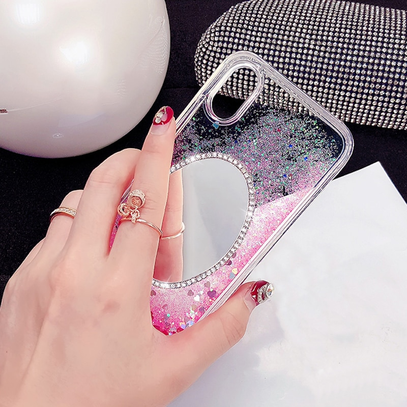 De lujo de diamantes de imitación espejo corazón líquido arenas movedizas funda de teléfono para Xiaomi Redmi 6 8 Nota 4 4X 4A 5A note5A pro