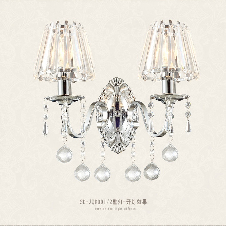 creative wall lamp European crystal wall lamp LED bedroom bedside lamp hotel wall lamp luxury living room staircase candle wall