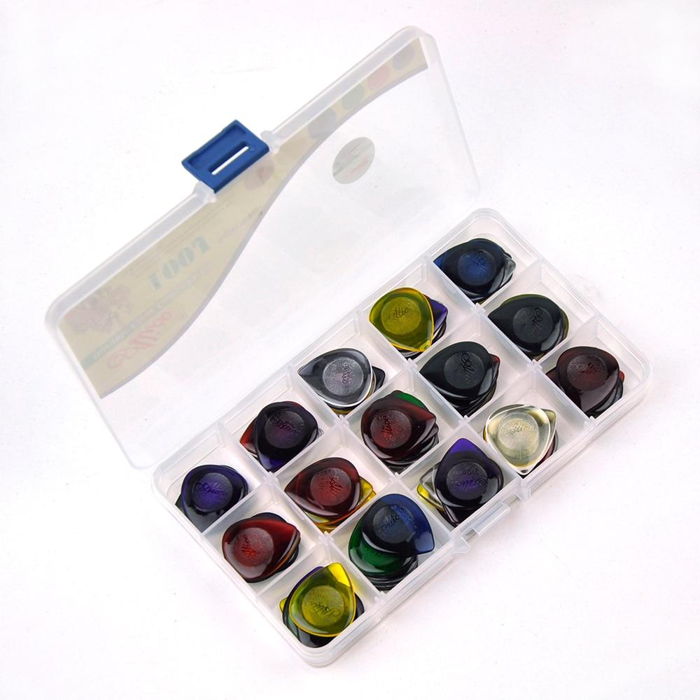 100pcs/lot 2mm Clear Water Drop Picks 25mm x 30mm for Guitar Bass Mixed Colors w/ PVC Box enlarge
