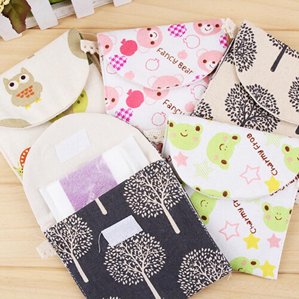 Travel Outdoor Holder Bags Purse Sanitary Pad Towel Bag Women Lady Cotton Full Dots Sanitary Napkin Bags