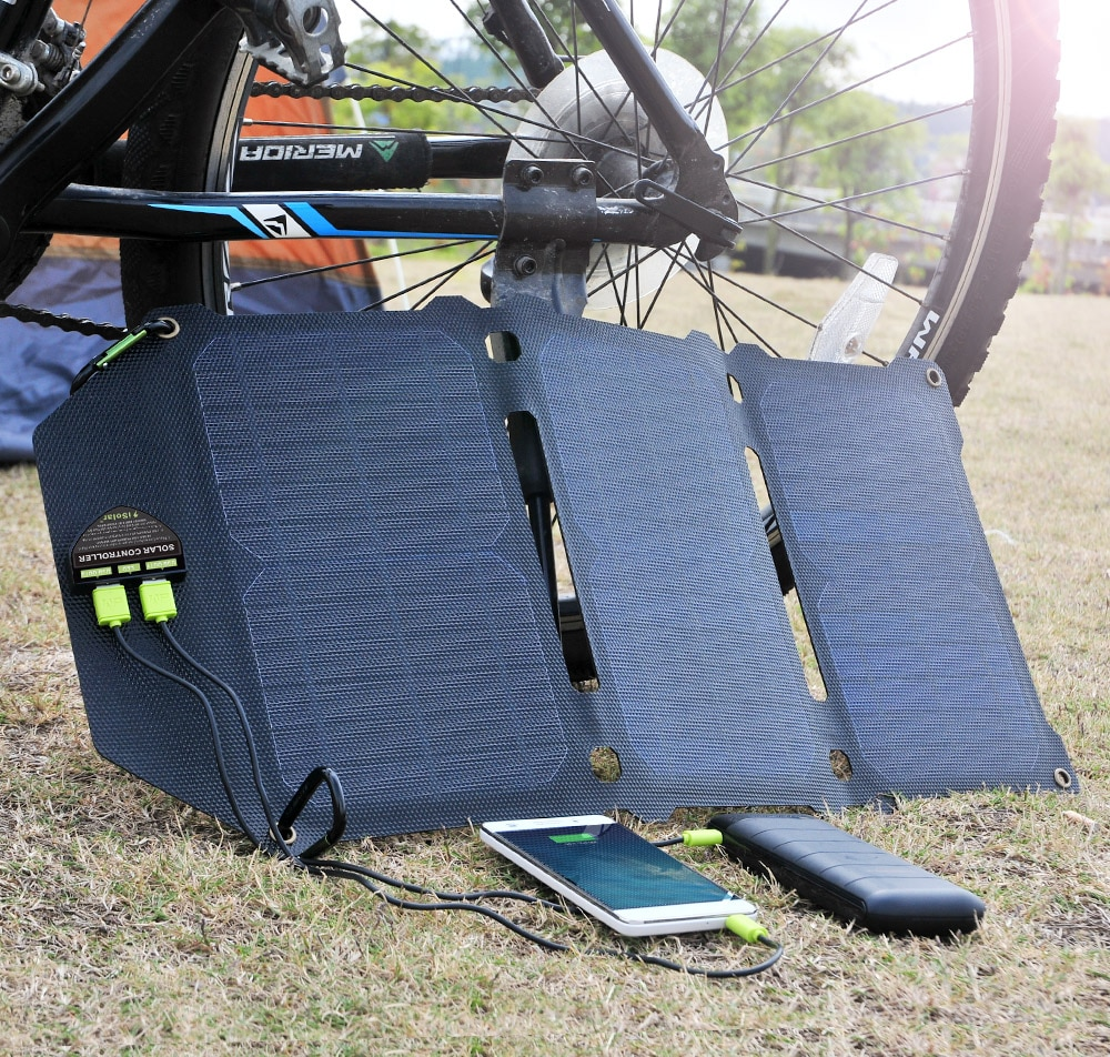 ALLPOWERS Manufacture 21W Fold Solar Panel Dual USB Solar Charger Batterie Phone Charging for Sony iPhone X 11 12 Pro Max iPad