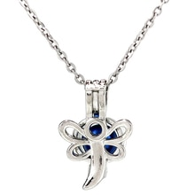K930 Silver Alloy Dragonfly Animal Beauty Beads Pearl Cage Pendant Chain Aroma Essential Oil Diffuse