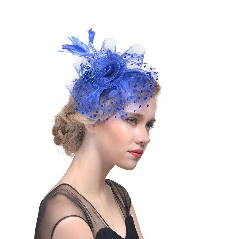 2019 גבירותיי כובעי Fascinator נוצת חתונה רשת כובעים וfascinators לנשים אלגנטי כנסיית כובעי מגבעת שיער קליפ סרט